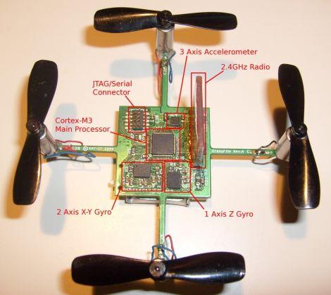 Самодельный микроквадрокоптер (видео)